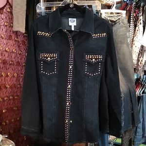 Diane Gilman Gold Studded Jean Jacket